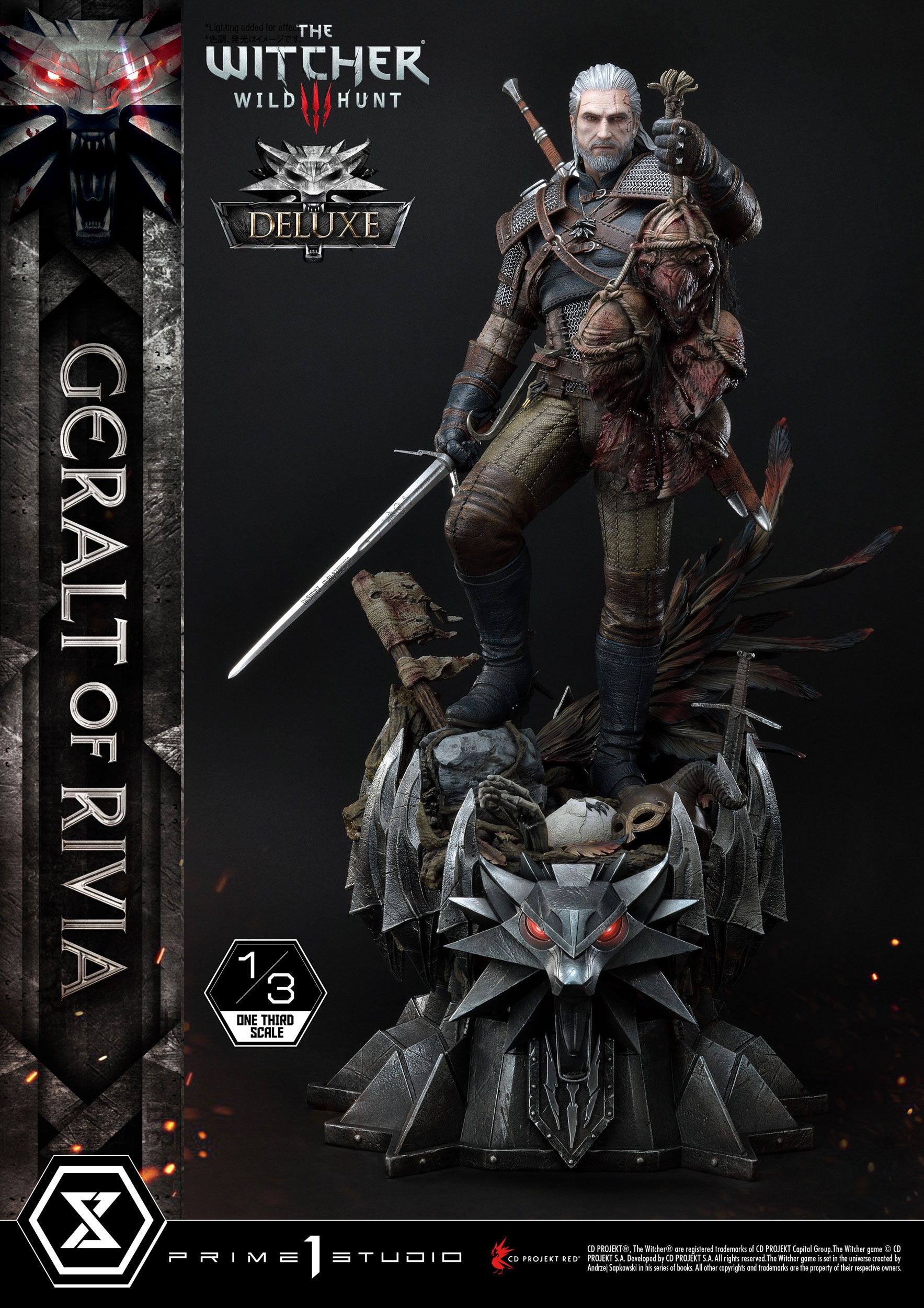 Witcher 3 Wild Hunt - socha Geralt von Riva Deluxe Version 88 cm