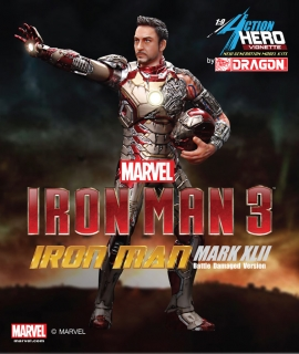 Iron Man 3 - vignette Mark XLII Battle Damaged Igor Armor 20 cm